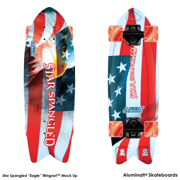 Star Spangled Eagle Wingnut Aluminati Skateboard - Star Spangled 1776