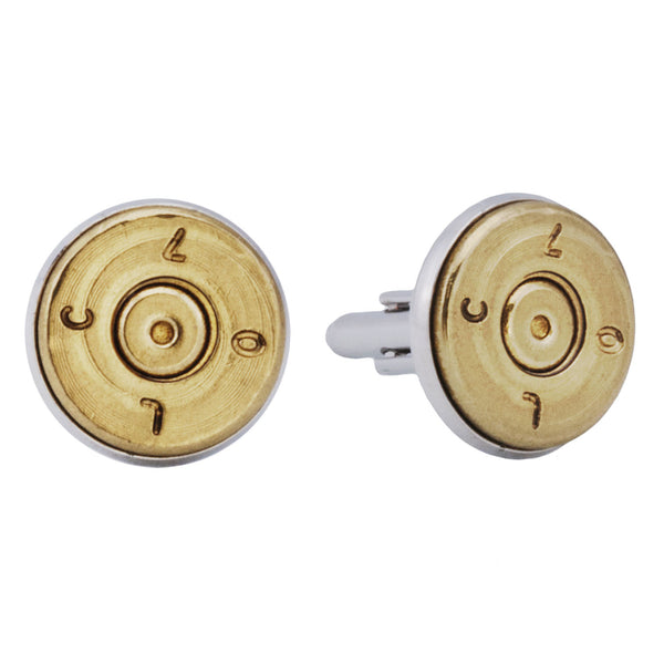 .50 Caliber Brass Bullet Cufflinks - Star Spangled 1776