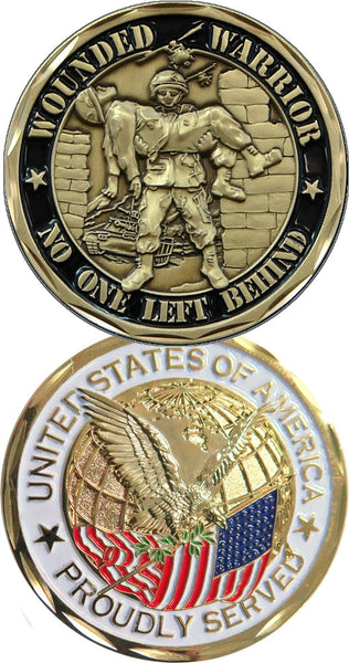 Wounded Warrior - Proudly Served Challenge Coin - Star Spangled 1776