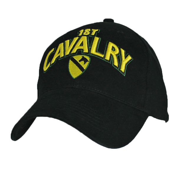 Army 1st Cavalry Division 3D Text Black Embroidered Military Baseball Cap - Star Spangled LLC