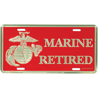 Marine Retired 6 X 12 Metal USMC License Plate - Star Spangled 1776