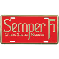 Semper Fi 6 X 12 Metal Marine Corps License Plate - Star Spangled 1776