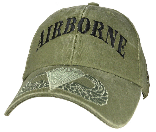 Airborne OD Embroidered Military Baseball Cap - Star Spangled 1776