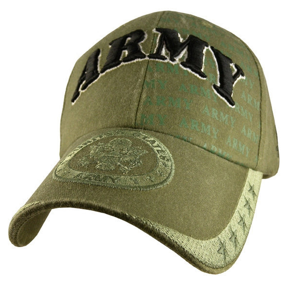 Army OD Embroidered Military Baseball Cap - Star Spangled 1776