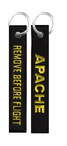 "AH-64 Apache Helicopter 6"" Embroidered Black Key Chain - Star Spangled 1776"