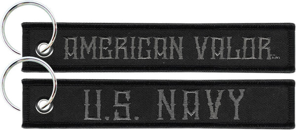 "U.S. Navy American Valor 6"" Embroidered Black Key Chain - Star Spangled 1776"