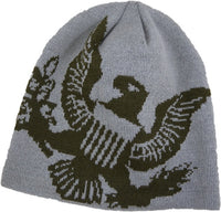 Army Eagle Grey Knit Watch Cap Beanie - Star Spangled 1776