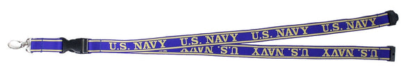 Navy Embroidered Lanyard with Detachable Key Chain - Star Spangled 1776