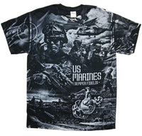 Marines Semper Fidelis T-Shirt- Black Graphic Short Sleeve Tee - Star Spangled 1776