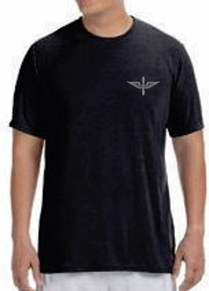 Army Aviation Insignia Deluxe Performance T-Shirt- Black - Star Spangled 1776