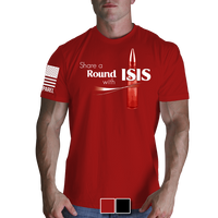 Share A Round With ISIS Red T-Shirt - Nine Line Military Men's Graphic Tee Shirt - Star Spangled 1776
