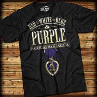 Combat Wounded Purple T-Shirt- 7.62 Design Black Graphic Military Tee Shirt - Star Spangled 1776