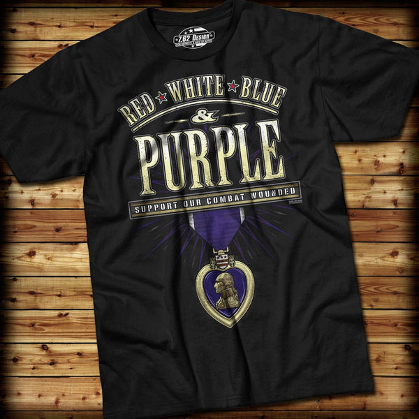 2313df041 ... Combat Wounded Purple T-Shirt- 7.62 Design Black Graphic Military Tee  Shirt - Star ...