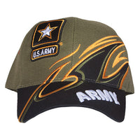 Army OD/Black Shark Fin Military Embroidered Ball Cap - Star Spangled 1776