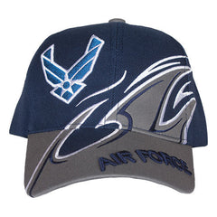 Air Force Navy/Black Shark Fin Military Embroidered Ball Cap