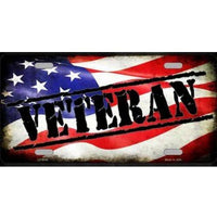 Veteran American Flag Metal License Plate