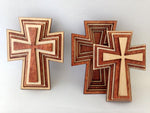 "3"" Laser Cut Wood Cross Basket With Lid"