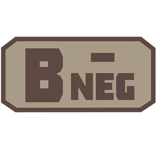 B NEG (-) Embroidered Hook Back Patch