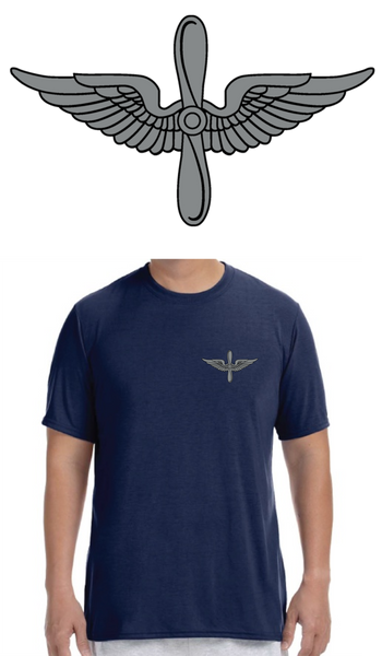 Army Aviation Insignia Deluxe Performance T-Shirt- Navy Blue - Star Spangled 1776