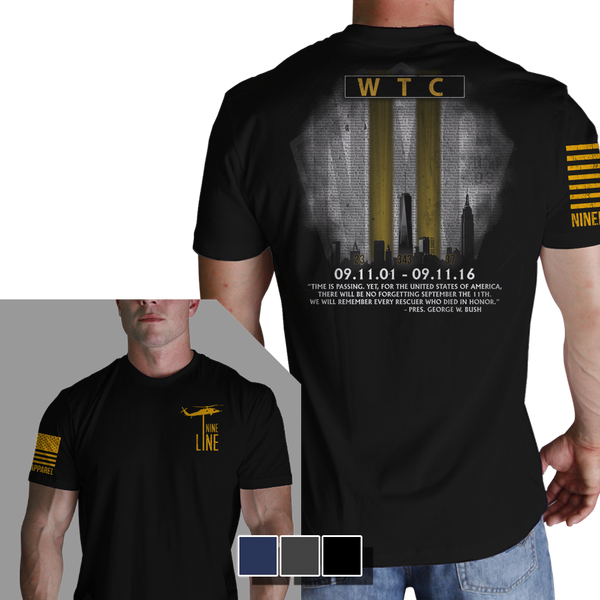 911 Tribute Black T-Shirt- Nine Line Men's Short Sleeve Tee Shirt