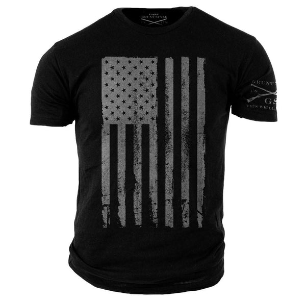 America T-Shirt Black- Grunt Style Military Men's Graphic Tee Shirt - Star Spangled LLC
