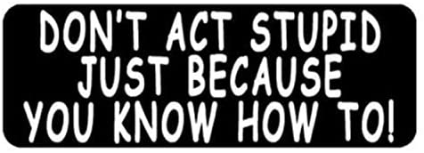 Don't Act Stupid Motorcycle Helmet Stickers - Novelty Artwork Decals, 4 x 1