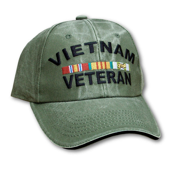 Vietnam Veteran W Ribbons Embroidered Military Baseball Cap- OD Green 265b2b6dc755