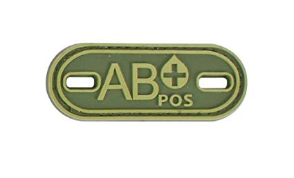 AB+ Blood Type OD Green PVC Patch