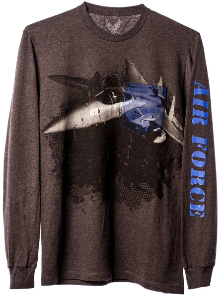 Air Force Long Sleeve Pocket T-Shirt with Fighter Graphic - Star Spangled 1776