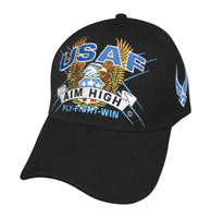 Air Force Slogan Embroidered Baseball Cap-Black