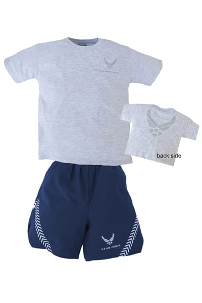 Air Force Youth PT Shorts and T-Shirt Set- Grey/Blue - Star Spangled LLC