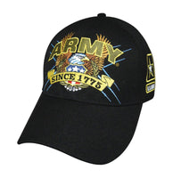 Army Slogan Embroidered Baseball Cap-Black