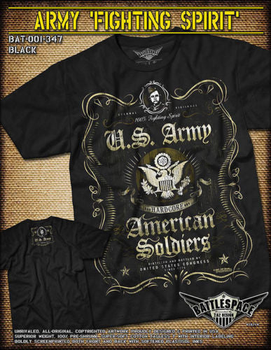 Army Fighting Spirit T-Shirt- 7.62 Design Black Graphic Military Tee Shirt - Star Spangled 1776