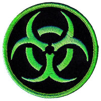 Biohazard Black and Green Embroidered Hook Back Patch