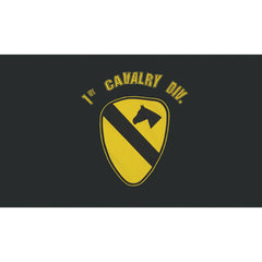 1st Cavalry Polyester 3 X 5 Military Flag- Black