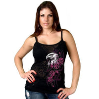 Spaghetti Strap Burn Out Glitter Eagle Head Tank Top