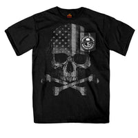 Patriotic Skull Black Pocket Cotton T-Shirt - Star Spangled 1776