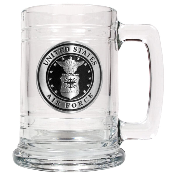 Air Force Glass Tankard - Military Glass Mug 15oz with Branch Logo - Star Spangled 1776