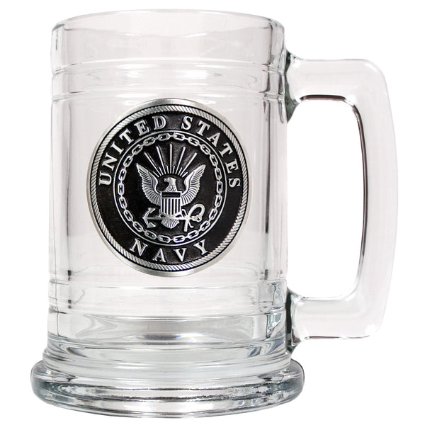 U.S. Navy Glass Tankard - Military Glass Mug 15oz with Branch Logo - Star Spangled 1776
