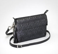 Embroidered Rose Lambskin Concealed Carry Handbag- Black