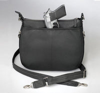 Chrome Zip Concealed Carry Handbag- Black