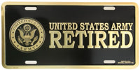 U.S. Army Retired 6 X 12 Metal Military Army License Plate - Star Spangled LLC