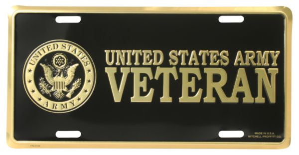 Army Veteran 6 X 12 Metal Military Army License Plate