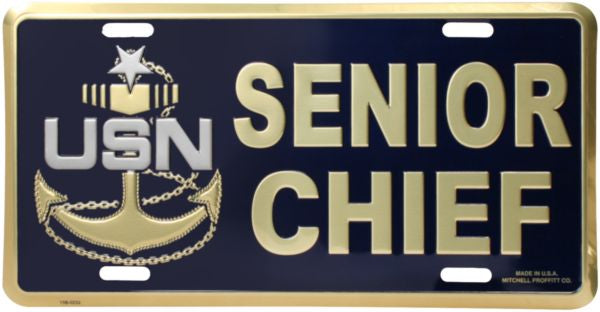 Navy Senior Chief 6 X 12 Metal Military License Plate