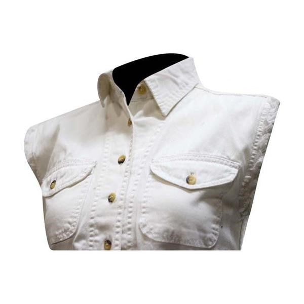 Women's White Denim Sleeveless Shirt with Buttons
