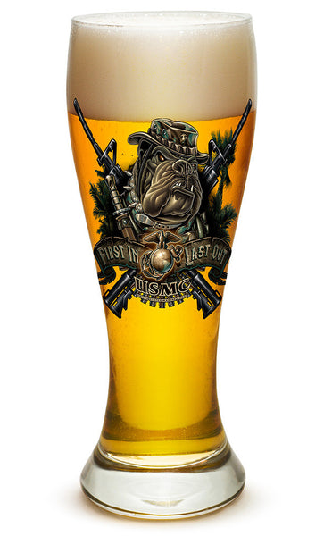 23 Ounces Pilsner Glass Marine Devil Dog First In Last Out - Star Spangled 1776
