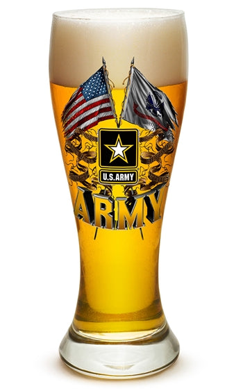 23 Ounces Pilsner Glass Army Double Flag US Army