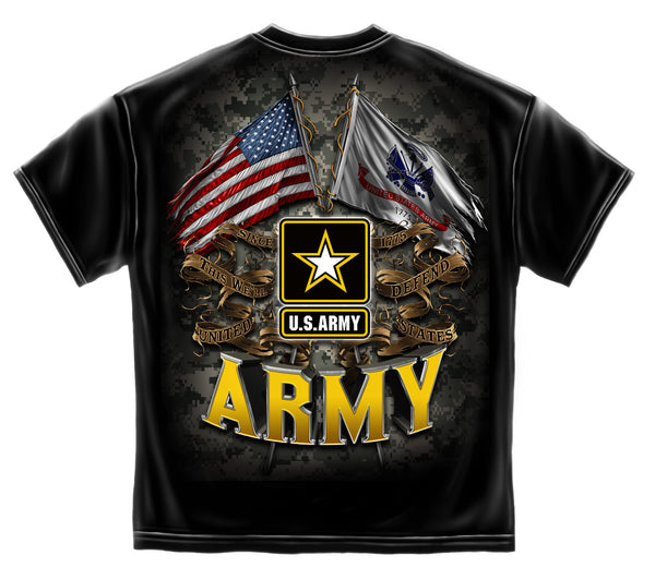 1af63b2b8328 Army Double Flags T-Shirt- US Army Black Cotton Men's Tee Shirt. Click on  Thumbnails to Enlarge