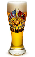 23 Ounces Pilsner Glass Double Flag Gold Globe Marine Corps