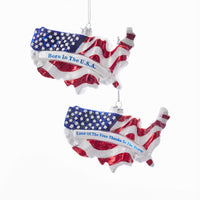 America Stars and Stripes Glass Ornament